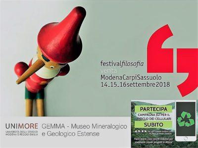 Festival Filosofia 2018: il Museo Mineralogico GEMMA – UNIMORE con il JGI Italia e la Campagna Raccolta Cellulari