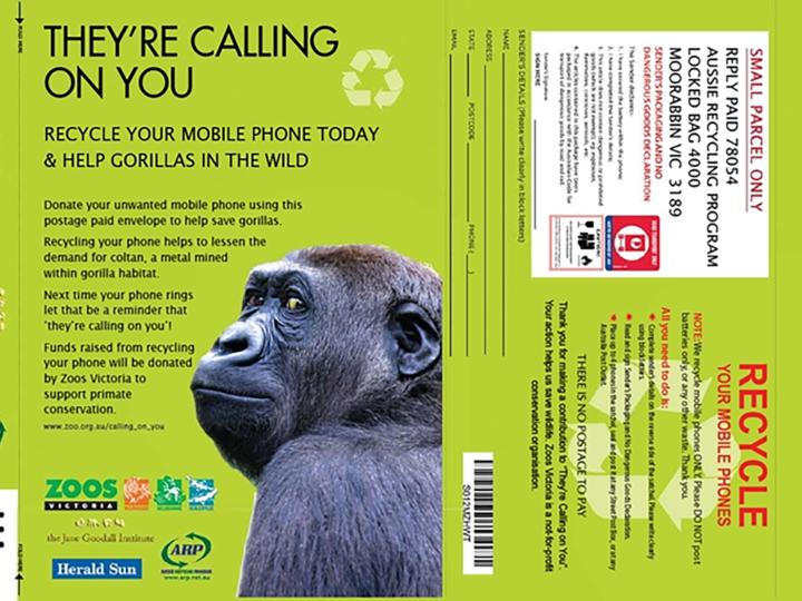 Campagna Riciclo Cellulari JGI in Australia: più di 115.000 vecchi telefonini in soli 6 anni