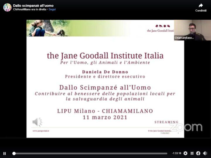 Dallo scimpanzé all'uomo: incontro online tra Daniela De Donno, LIPU Milano e ChiAmaMilano